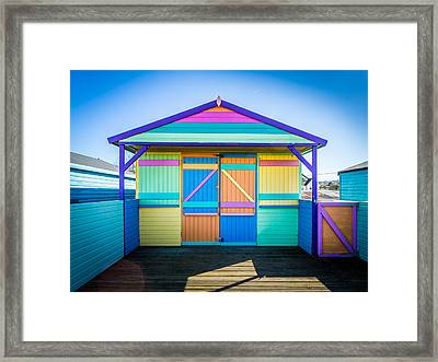 Framed Print featuring the photograph Vibrant Beach Hut by Gary Gillette