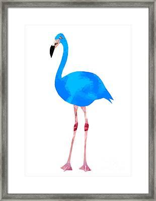Vibrant Dark Blue Flamingo Bird Low Framed Print