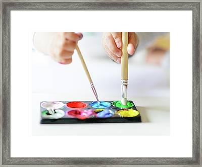Vibrant Gouache Color Set In Double Use Framed Print by Tatiana Kolesnikova
