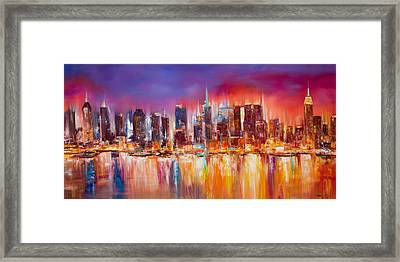 Vibrant New York City Skyline Framed Print by Manit