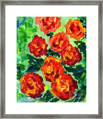 Vibrant Orange Peonies With Green Leaves Framed Print by Beverly Claire Kaiya