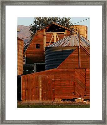 Vibrant Red Barn And Out-buildings Framed Print by Kirk Strickland
