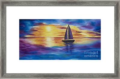 Glowing Sunset Sail Framed Print