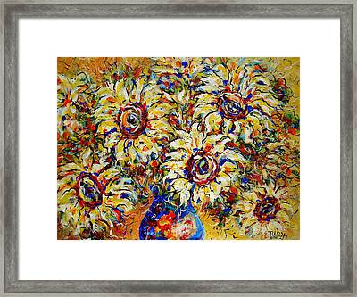 Framed Print featuring the painting Vibrant Sunflower Essence by Natalie Holland