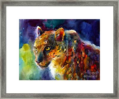 Vibrant Watercolor Leopard Wildlife Painting Framed Print
