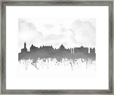 Victoria British Columbia Skyline - Gray 03 Framed Print