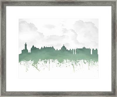 Victoria British Columbia Skyline - Green 03 Framed Print