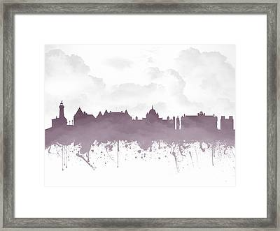 Victoria British Columbia Skyline - Purple 03 Framed Print
