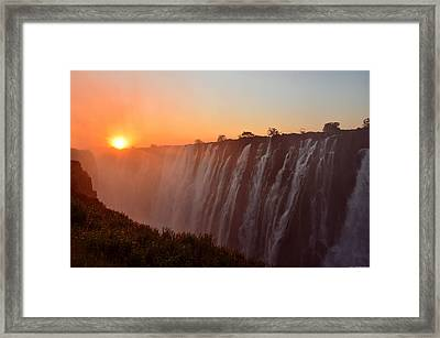 Victoria Falls At Sunset Framed Print