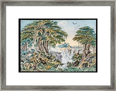 Victoria Falls Buffalo Hunt Framed Print by Gustoimages/science Photo Libbrary
