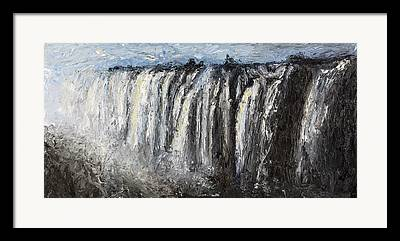 Zambia Waterfall Paintings Framed Prints