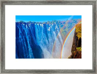 Victoria Falls Double Rainbow Framed Print
