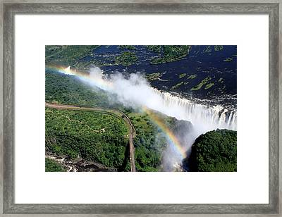 Rainbow Over Victoria Falls  Framed Print by Aidan Moran