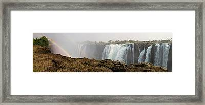 Victoria Falls With Rainbow Framed Print