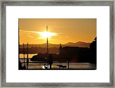 Framed Print featuring the digital art Victoria Harbor Sunset 1 by Kirt Tisdale