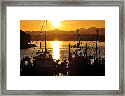 Framed Print featuring the digital art Victoria Harbor Sunset 2 by Kirt Tisdale