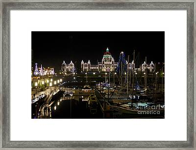 Victoria Harbour At Christmas Framed Print by Maria Janicki