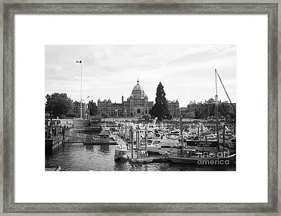 Victoria Harbour With Parliament Buildings - Black And White Framed Print by Carol Groenen