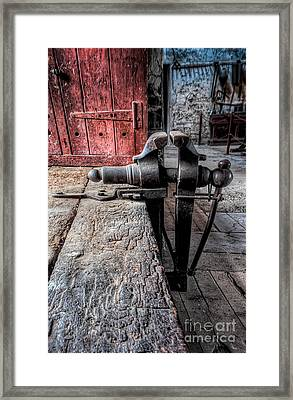 Victorian Bench Vice Framed Print by Adrian Evans