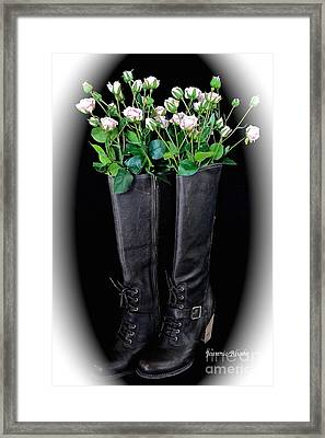 Victorian Black Boots Framed Print by Jeannie Rhode