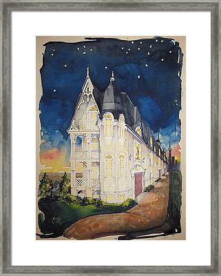 The Victorian Apartment Building By Rjfxx. Original Watercolor Painting. Framed Print