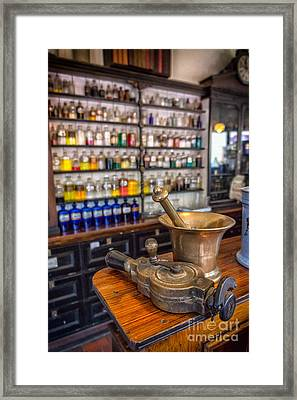 Victorian Chemist Equipment Framed Print by Adrian Evans