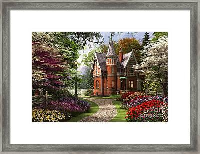Victorian Cottage In Bloom Framed Print