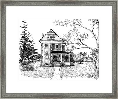 Victorian Farmhouse Pen And Ink Framed Print by Renee Forth-Fukumoto