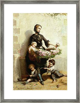 Victorian Flower Seller Framed Print by Leopold de Moulignon