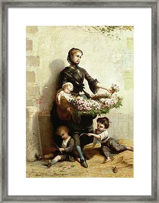 Victorian Flower Seller Framed Print