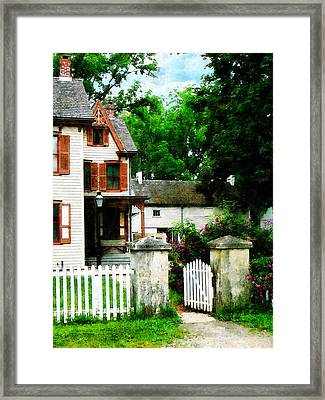 Victorian Home With Open Gate Framed Print