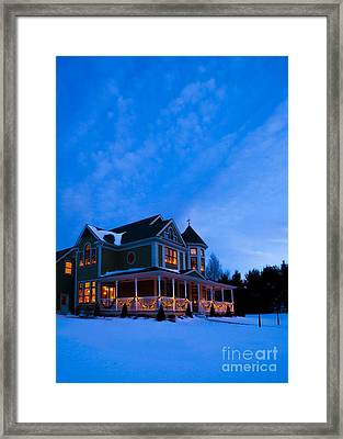 Victorian House At Christmastime Framed Print by Diane Diederich