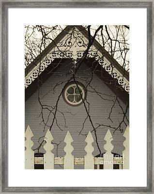 Victorian House Behind Ipicket Fence Framed Print by Jill Battaglia