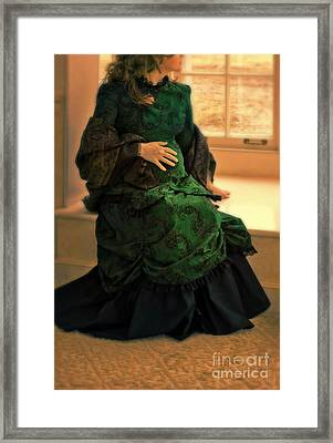 Victorian Lady Expecting A Baby Framed Print by Jill Battaglia