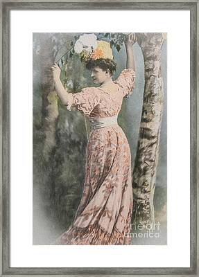 Victorian Lady In Beautiful Dress Framed Print by Patricia Hofmeester