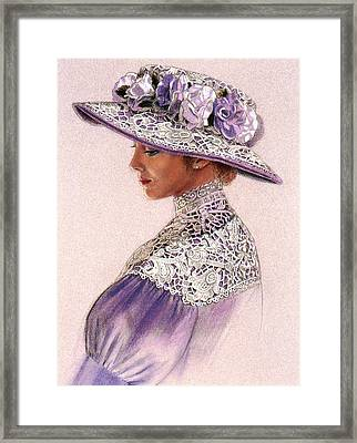 Victorian Lady In Lavender Lace Framed Print