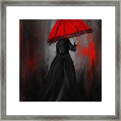 Victorian Lady With Parasol Framed Print by Lourry Legarde