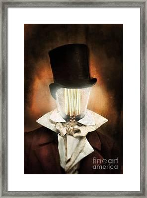 Victorian Man With A Lighbulb For A Head Framed Print
