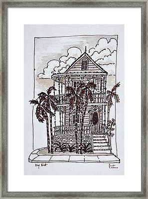 Victorian Style 'conch House' With Palm Framed Print