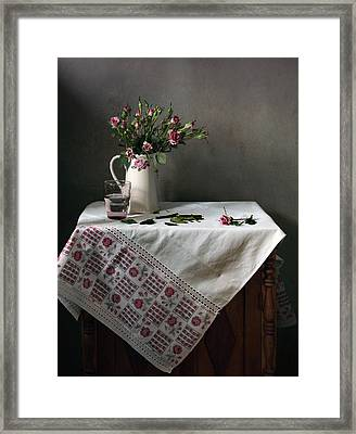Victorian Style Still Life With Pink Roses Framed Print by Helen Tatulyan