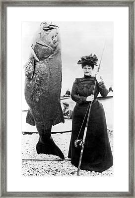 Victorian Woman With Her Bass Framed Print by Underwood Archives