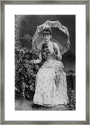 Victorian Women With Umbrella Framed Print by Lyric Lucas