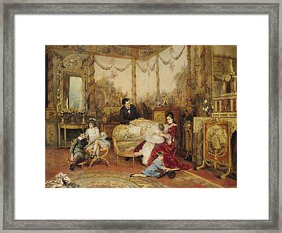 Victorien Sardou And His Family In Their Drawing Room Framed Print by Auguste de la Brely