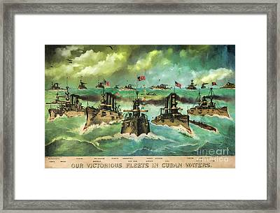 Victorious Navy - 1898 Framed Print by Lianne Schneider