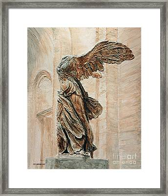 Victory Of Samothrace Framed Print by Joey Agbayani