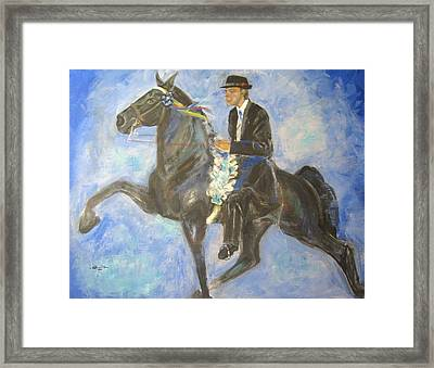Victory Round Framed Print by Blanche Gaddis