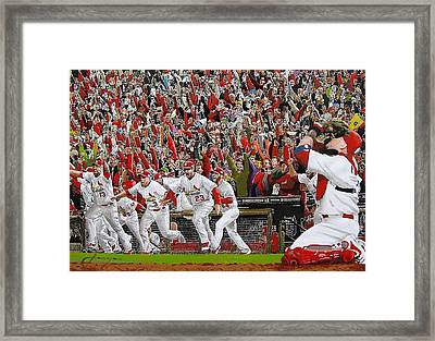 Victory - St Louis Cardinals Win The World Series Title - Friday Oct 28th 2011 Framed Print by Dan Haraga