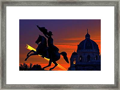 Vienna Monuments And Crescent Moon Framed Print by Babak Tafreshi