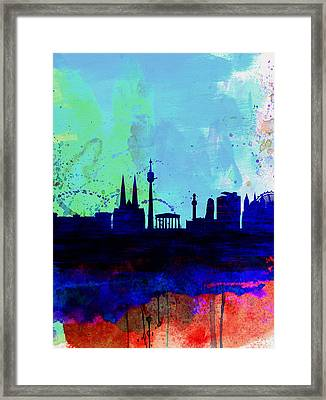 Vienna Watercolor Skyline Framed Print by Naxart Studio
