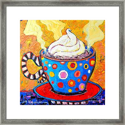 Viennese Cappuccino Whimsical Colorful Coffee Cup Framed Print by Ana Maria Edulescu